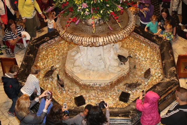 Peabody Ducks in fountain in lobby