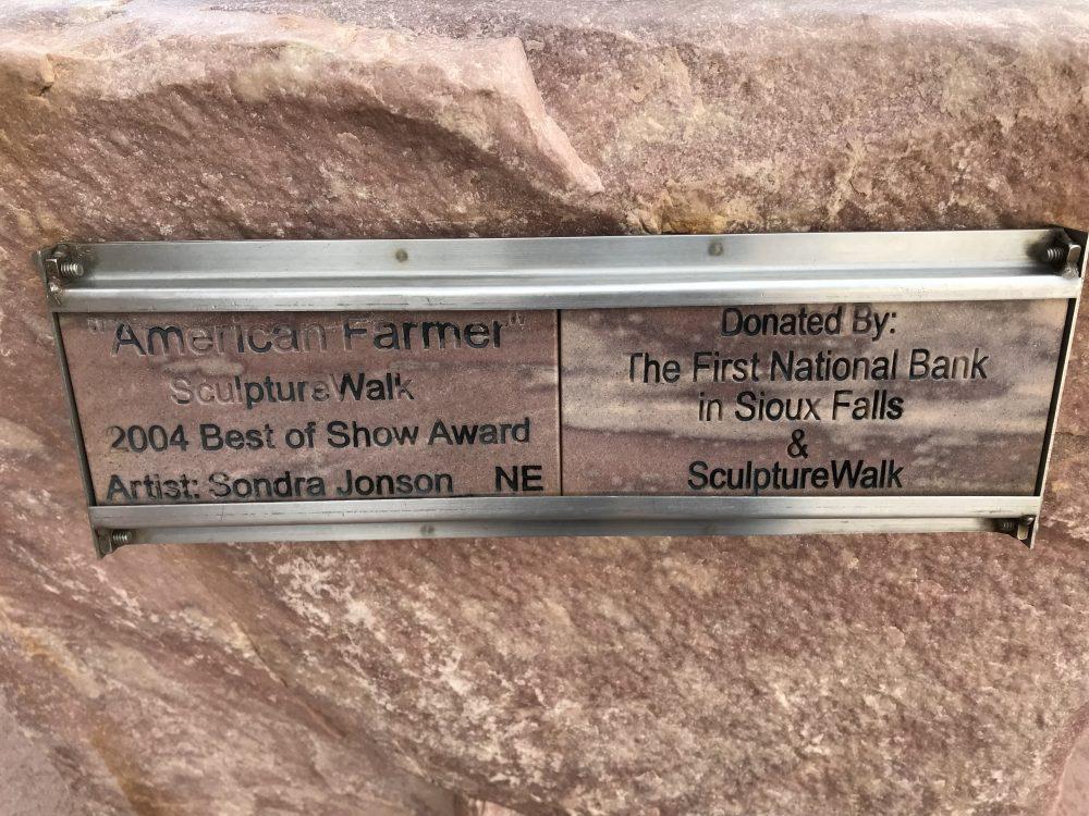 American Farmer plaque on statute in Sioux Falls, South Dakota