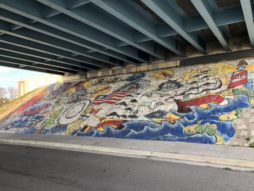 Bay City, MI spray painting under bridge