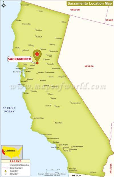 Map of California, specifically Sacramento