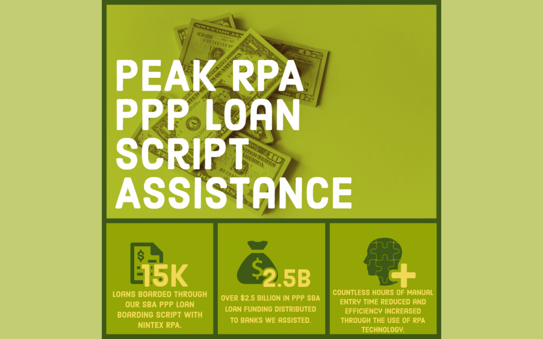 Peak Series – RPA: Peak's RPA Team assisted our clients with over 15k SBA PPP Loans with Nintex RPA and we're still going!