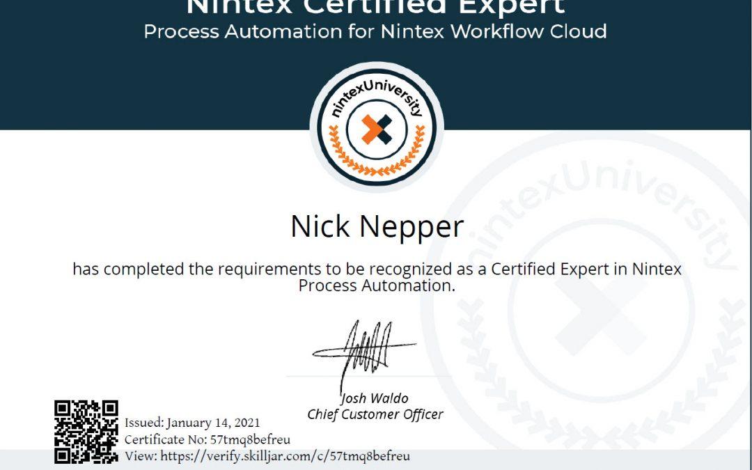 Nepper Recognized as Nintex Certified Expert in Workflow Cloud
