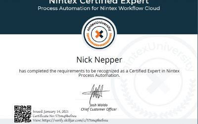 Nepper Recognized as Nintex Certified Expert in Workflow Cloud