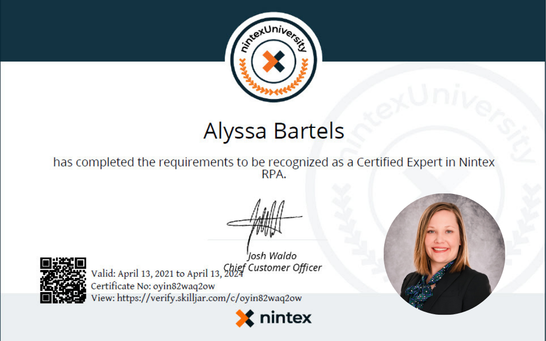 Bartels Obtains Expert Certifications in Nintex RPA and Process Automation